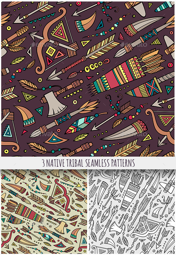 3 Tribal Native Ethnic Seamless Patterns - Backgrounds Decorative