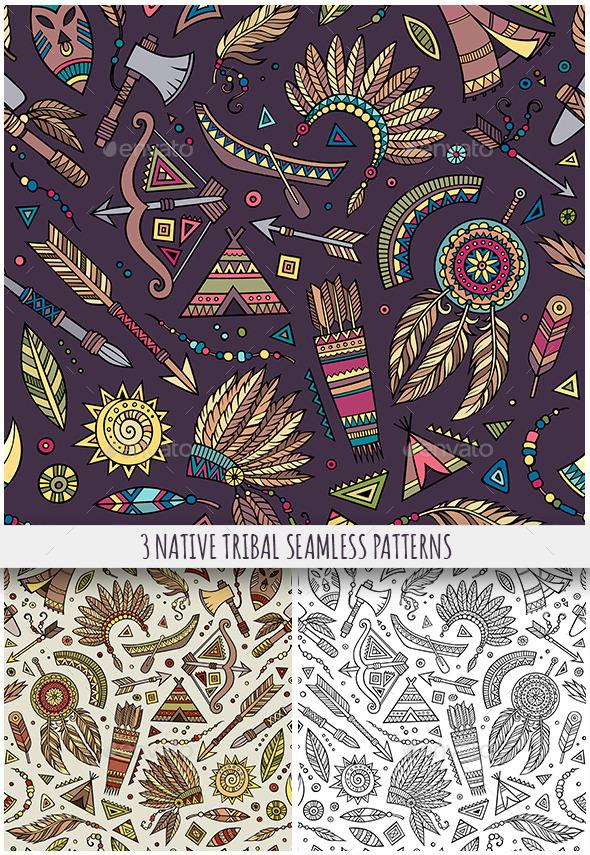 3 Tribal Native Ethnic Seamless Patterns - Patterns Decorative