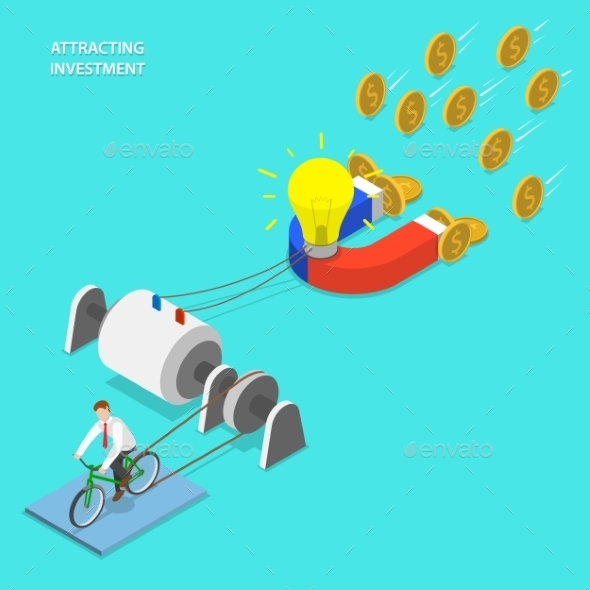 Investment Attraction Flat Isometric Vector - Concepts Business