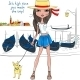 Fashion Girl with Dog in Venice - GraphicRiver Item for Sale