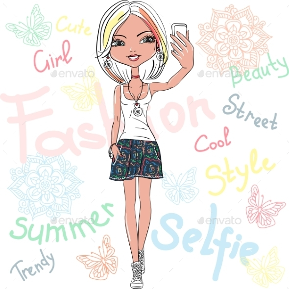 Girl Makes Selfie - People Characters