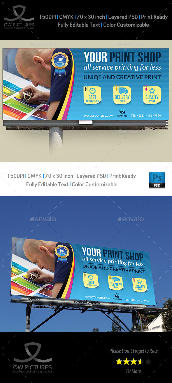 Print Shop Billboard Template - Signage Print Templates