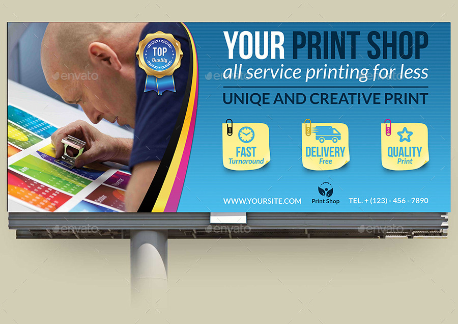 print shop billboard template by owpictures graphicriver