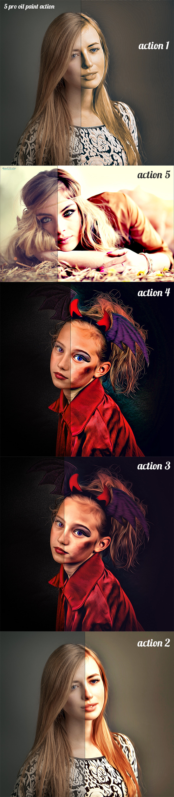 5 Pro Oil Paint Action - Photo Effects Actions