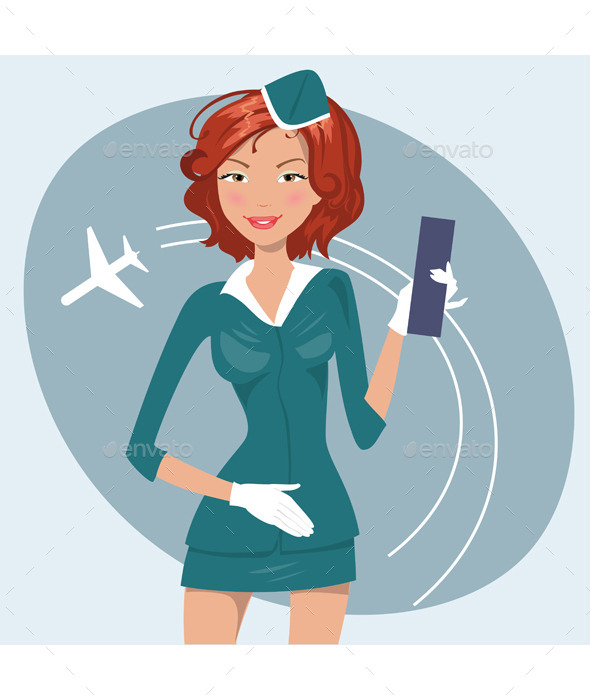 Illustration of Girl in Stewardess Uniform - People Characters