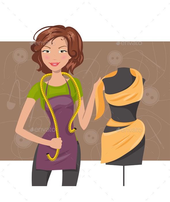 Woman Seamstress near a Manikin - People Characters