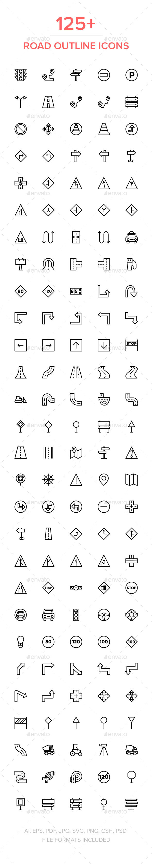 125+ Road Outline Vector Icons - Icons