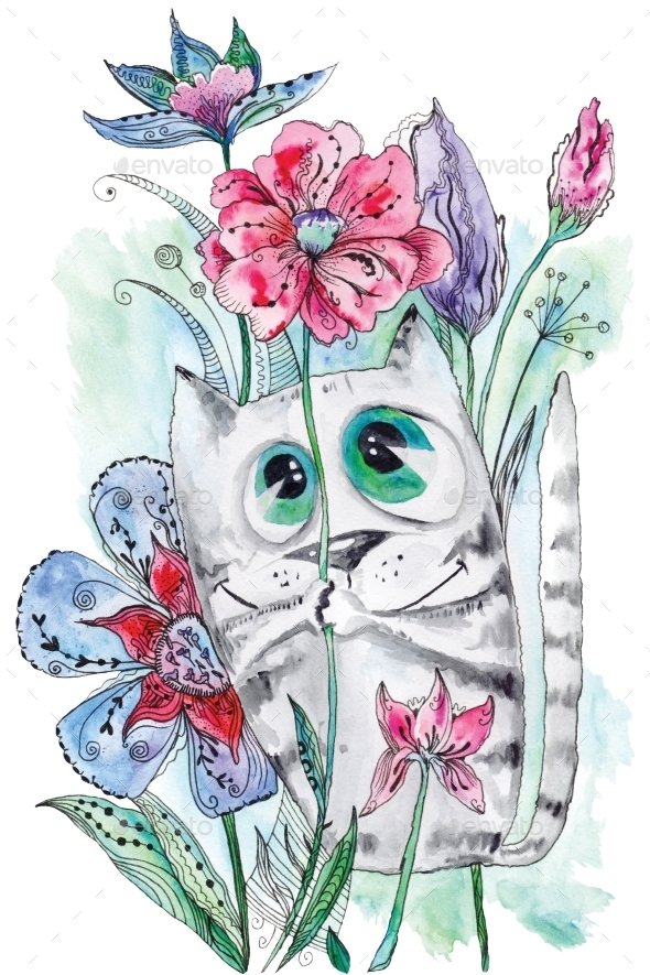 Funny Watercolor Cat With Flowers  - Animals Illustrations