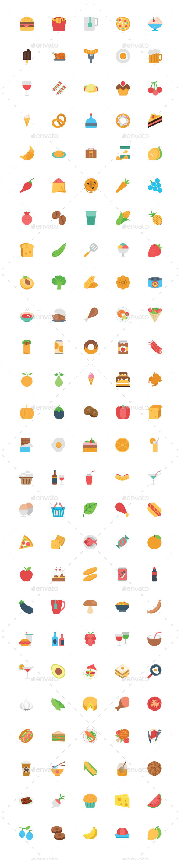 125+ Flat Food Vector Icons - Food Objects