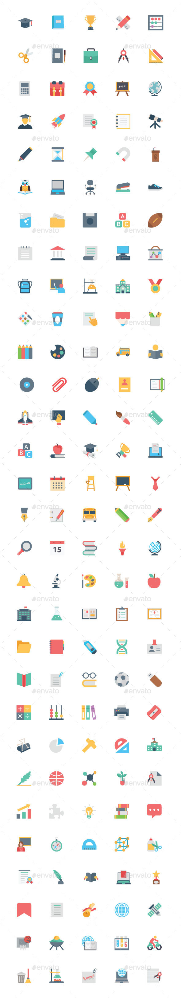 150 Flat Education Vector Icons - Icons