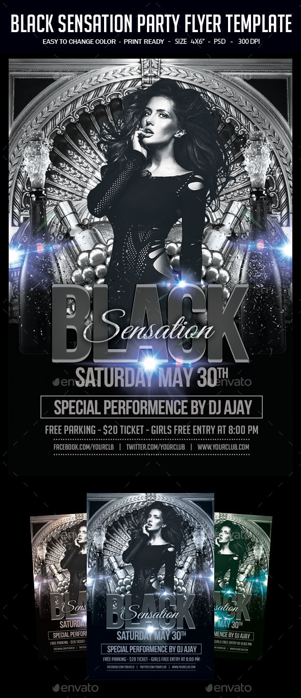 Black Sensation Party Flyer Template - Clubs & Parties Events