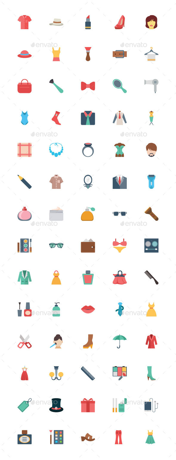 50+ Flat Fashion Vector Icons - Man-made objects Objects