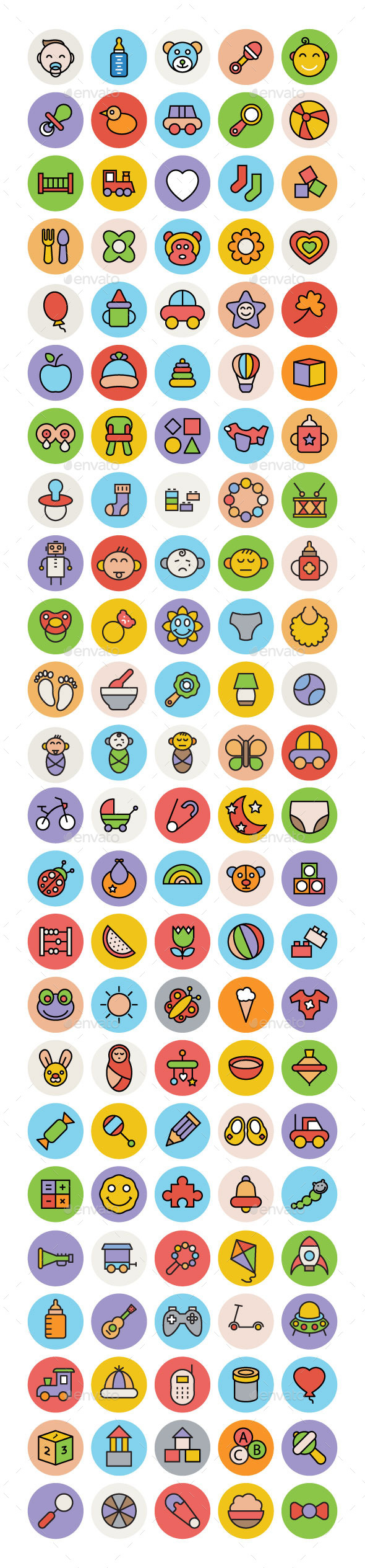 100+ Baby Colored Vector Icons - People Characters