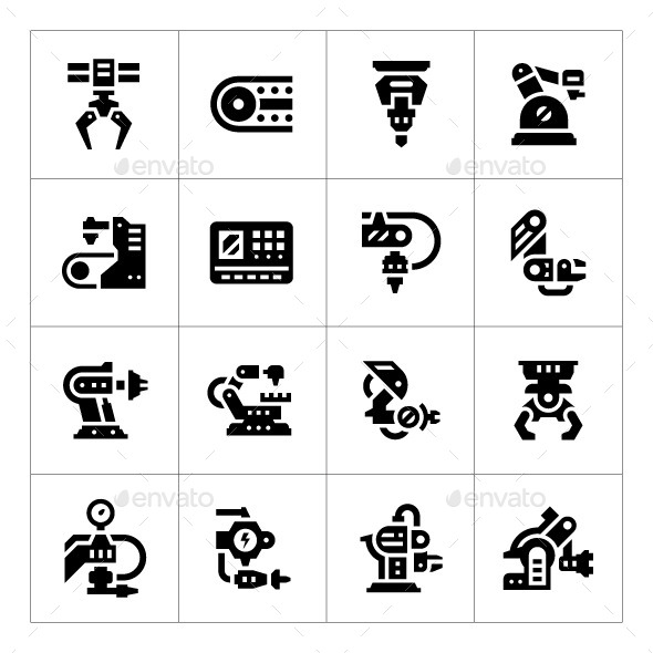 Set Icons of Robotic Industry - Technology Icons