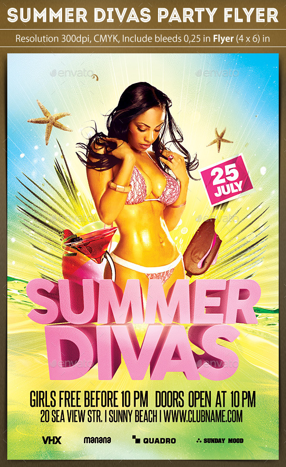 Summer Divas Party Flyer - Clubs & Parties Events