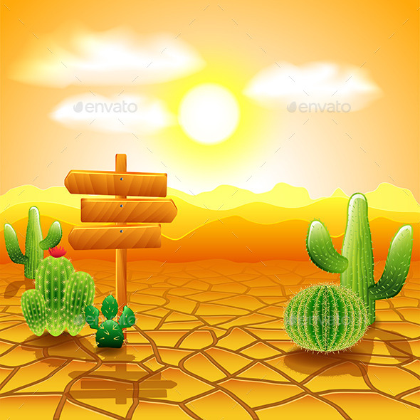 Desert Landscape with Wooden Sign and Cactus - Landscapes Nature