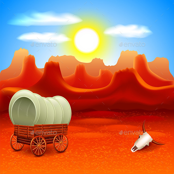 Wild West Landscape with Old Wagon - Landscapes Nature