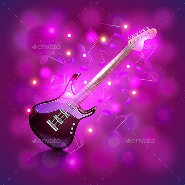 Electric Guitar on Glowing Background - Backgrounds Decorative