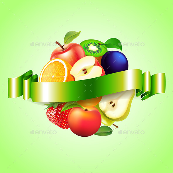 Fruits Sphere with Label Background - Food Objects