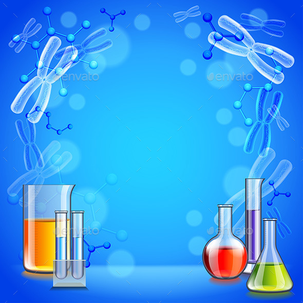 Science Background with Test Tubes and Flasks - Health/Medicine Conceptual