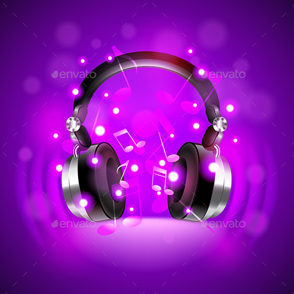 Headphones on Dark Glowing Background - Backgrounds Decorative