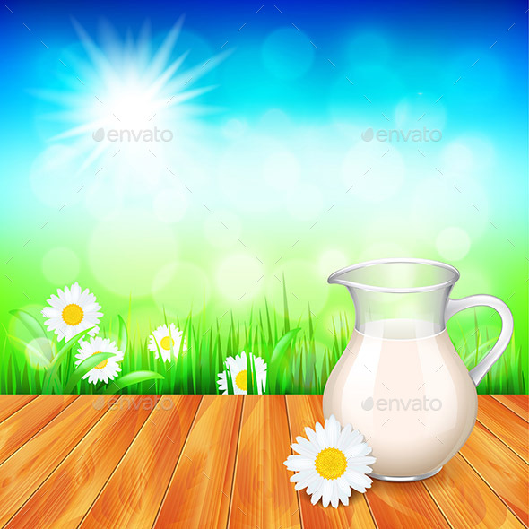 Milk Jug on Wooden Table Nature Background - Food Objects