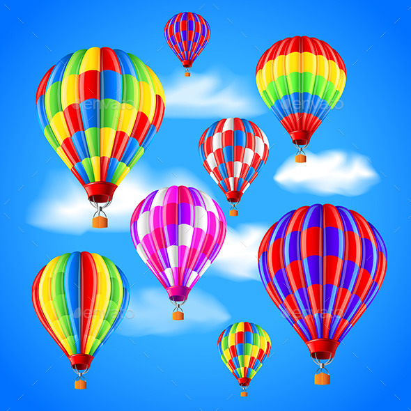 Hot Air Balloons in the Sky Background - Sports/Activity Conceptual