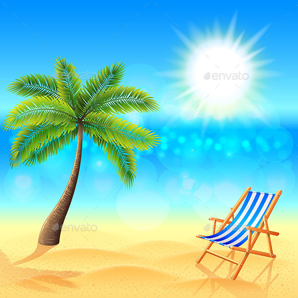 Palm and Deck Chair on Sunny Beach - Landscapes Nature