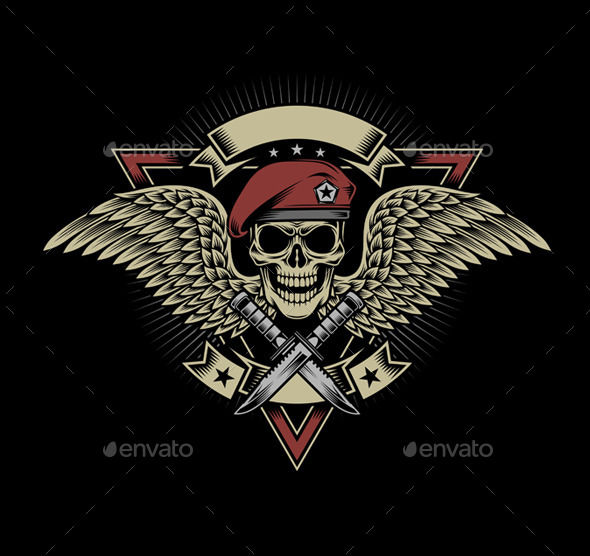Military Skull with Wings and Daggers - People Characters