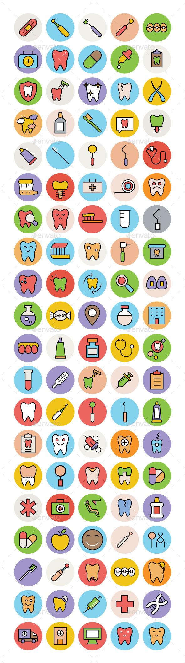 100 Dental Colored Vector Icons - Icons