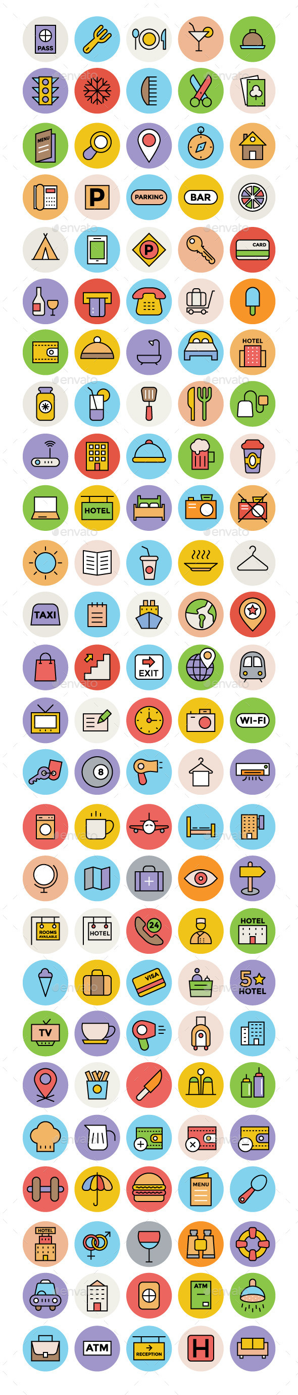 125+ Hotel and Restaurant Vector Icons - Objects Icons