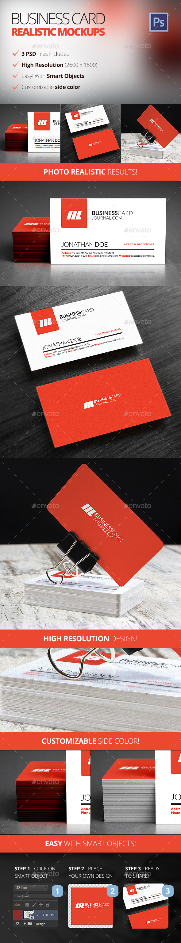 Photo Realistic Business Card Mockups - Business Cards Print