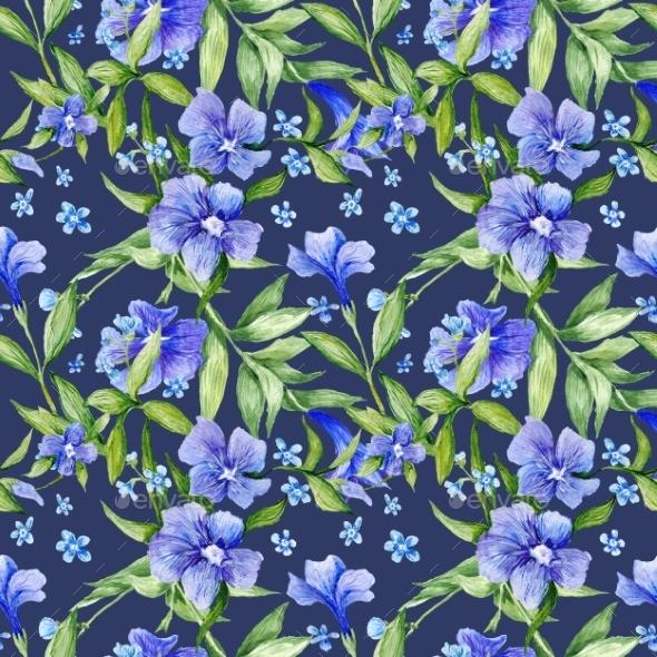 Tileable Floral Texture On Blue Background - Backgrounds Decorative