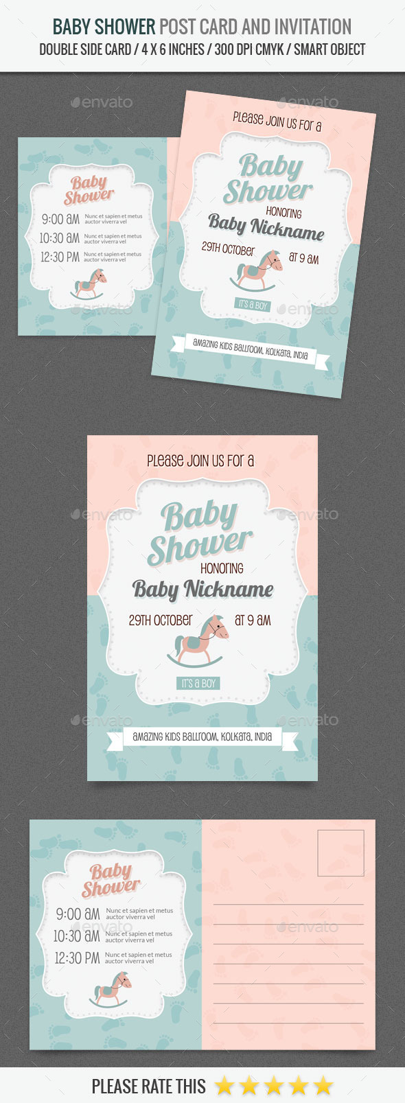 Baby Shower Post Card and Invitation Card Template - Invitations Cards & Invites