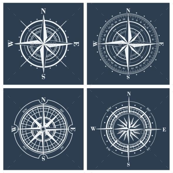 Set of Compass Roses - Decorative Symbols Decorative