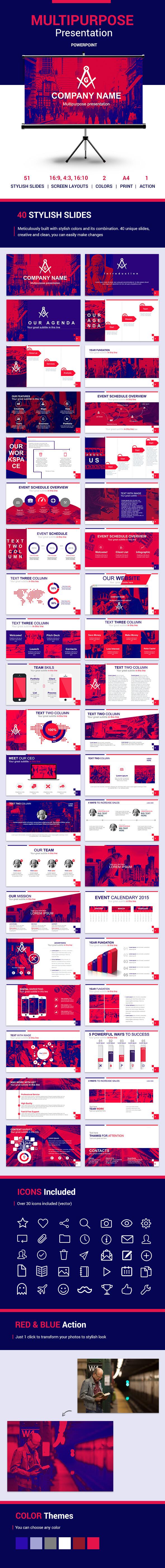 RED and BLUE Powerpoint Sliders Template - Business PowerPoint Templates