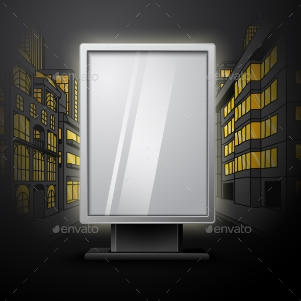 Blank White Vertical Billboard On Night City Scape - Borders Decorative