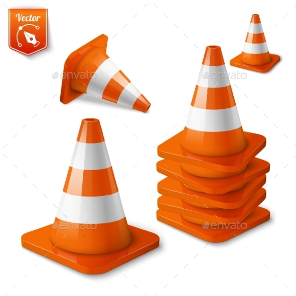 Set Of Orange Road Cones - Man-made Objects Objects