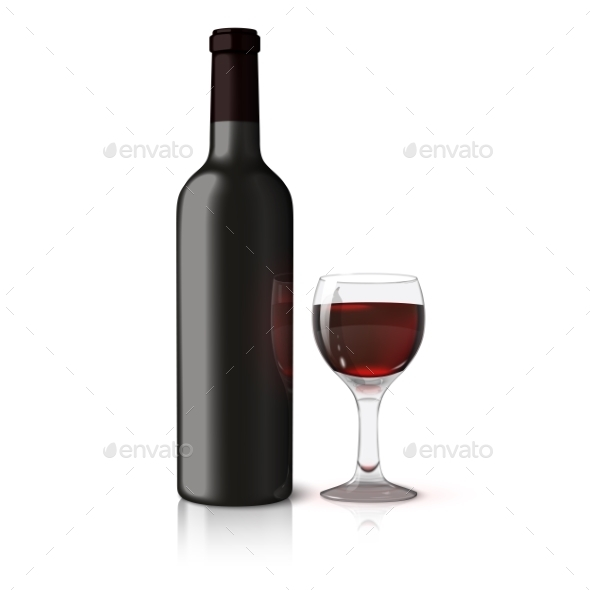 Blank Black Bottle for Red Wine with Glass - Man-made Objects Objects