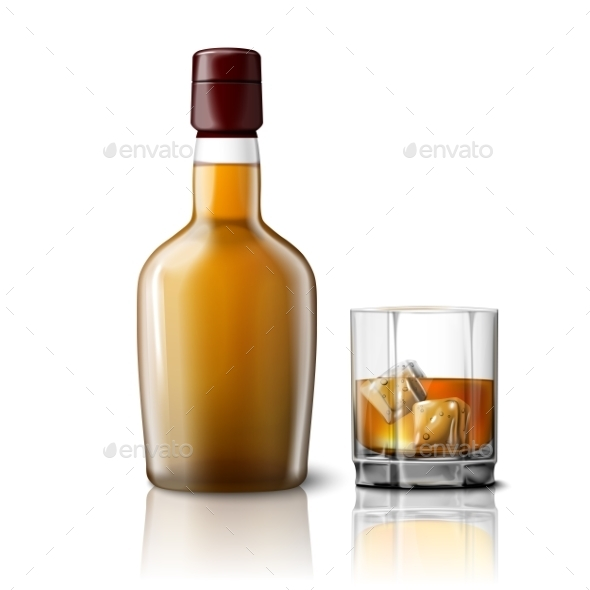 Blank Realistic Whiskey Bottle with Glass - Man-made Objects Objects