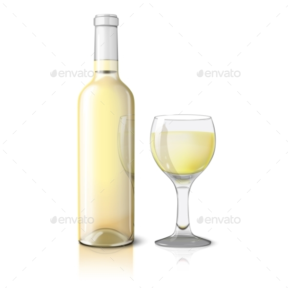 Blank Realistic Bottle for Wine with Glass - Man-made Objects Objects