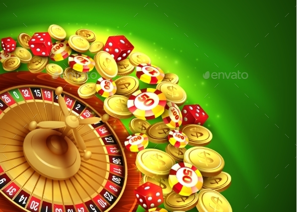 Casino Background With Chips, Craps and Roulette - Decorative Symbols Decorative