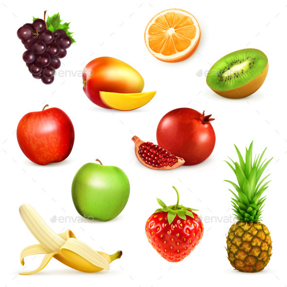 Fruits Vector Icons - Food Objects