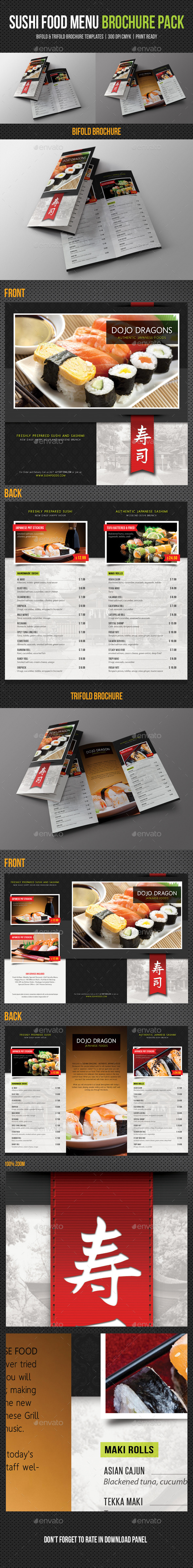 Sushi Restaurant Menu Brochure Pack - Food Menus Print Templates