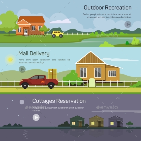 Outdoor Recreation, Mail Delivery, Cottages - Travel Conceptual