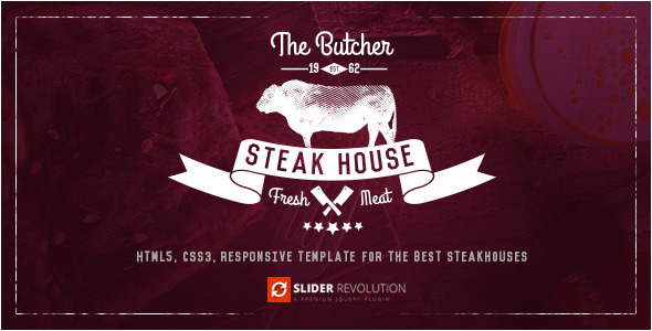 The Butcher – One Page HTML Template for Steak Houses