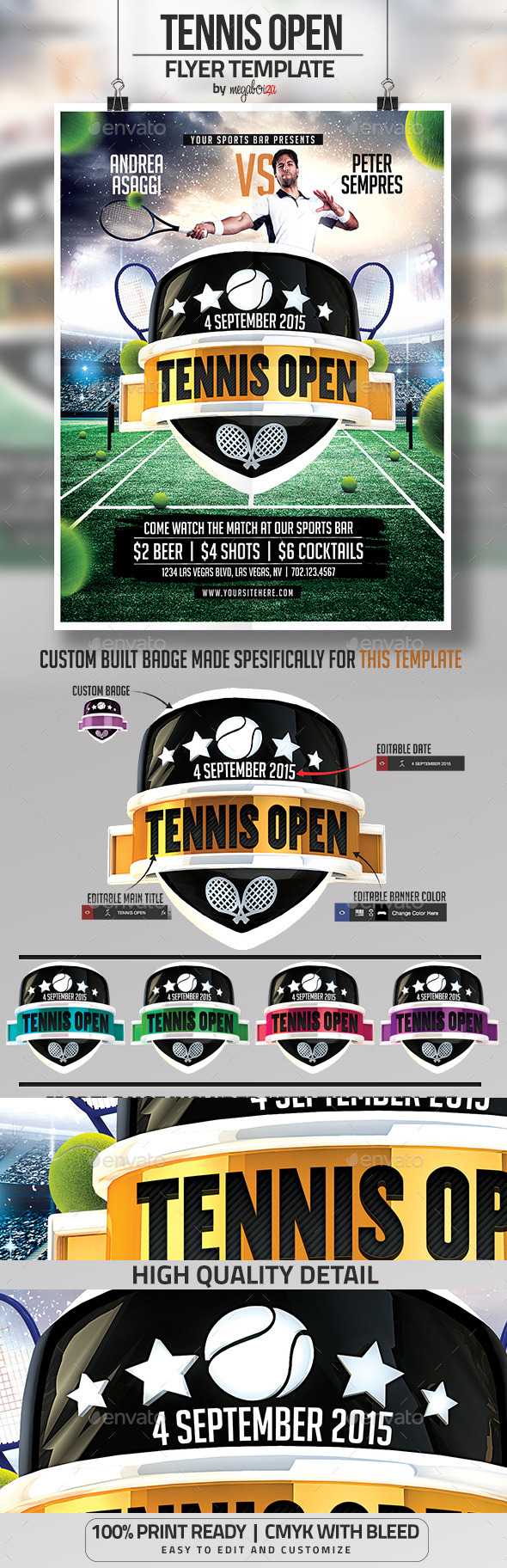 Tennis Open Flyer / Poster Template - Sports Events