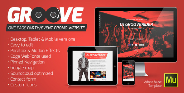 Groove – OnePage Party / Event Promo Muse Template