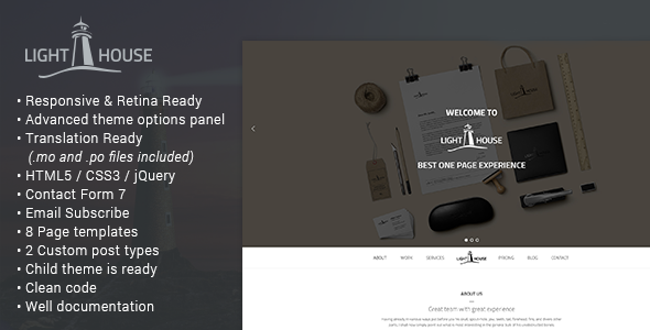 Lighthouse – One Page Responsive WordPress Theme