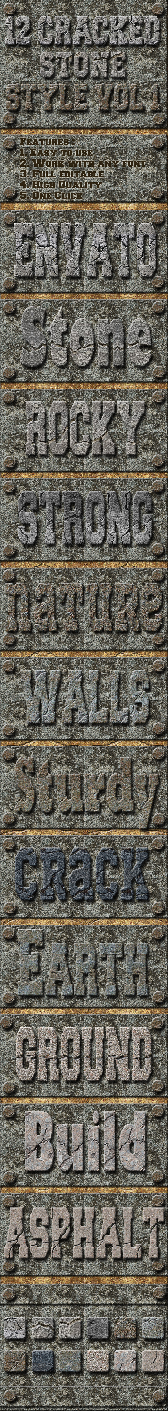 12 Cracked Stones Text Effect Style Vol 1 - Styles Photoshop